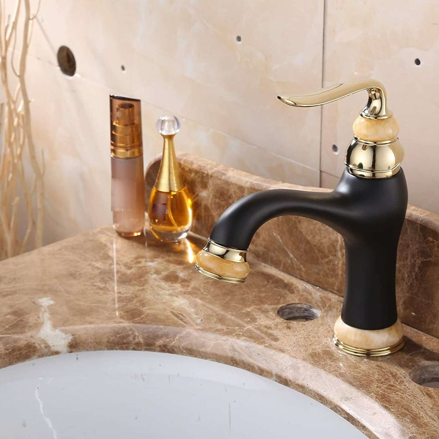 AmzGxp Bathroom Bathroom Copper Black gold Hot And Cold Basin Faucet One Generation Single Hole Fine Copper European Basin Faucet