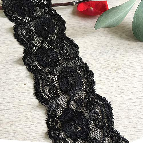 LaceRealm 3 Inch Embroidery Floral Stretchy Lace Elastic Trim Fabric for Garment and DIY Craft Supply- 5 Yard (7008 Black)
