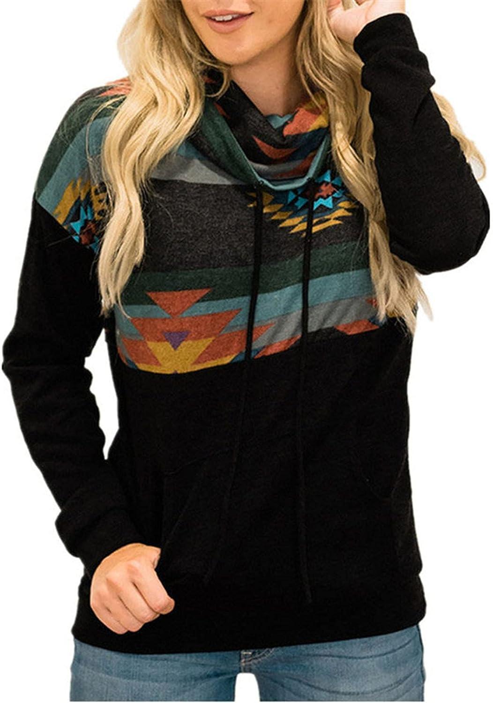 Women Hoodie Pullover Sun Totem Printed Top Drawstring Turtleneck Hedging Long Sleeve Vintage Loose Pocket Sweatshirts
