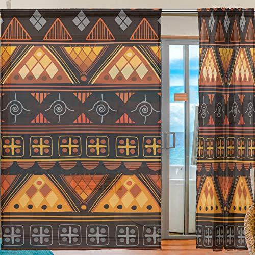 Ahomy Afrika Art Nation Custom Voile Fenstervorhang Sheer Curtain for Kitchen Wohnzimmer Schlafzimmer 2 Panels 140 x 198 cm, Polyester, Multi, 139.7x198.1 cm