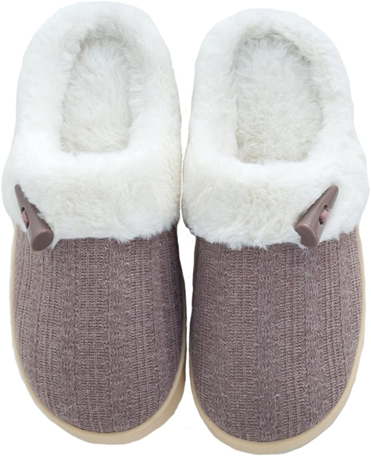 Aliwendy Winter Outdoor Indoor House Slippers Men and Women Cozy Woolen Knitted Plush Lining Home shoes
