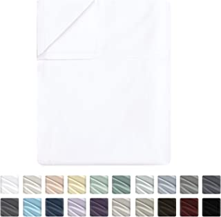 Flat Sheet Only - 400-Thread-Count Full Size Pure White Top Sheet - Best Premium Quality Sheet on Amazon - Luxury Soft 100% Cotton Sateen Weave Bedding, Lightweight and Breathable