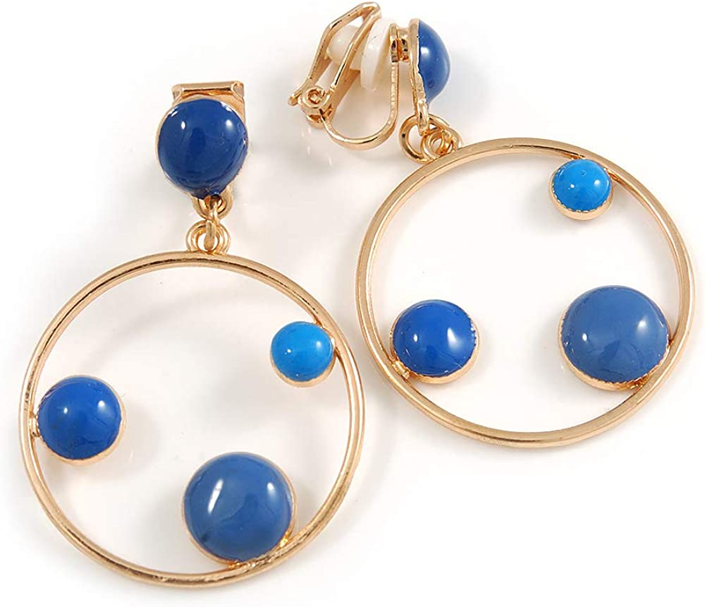 Blue Enamel Dot Circle/Hoop Drop Clip-On Earrings In Gold Tone - 40mm Long