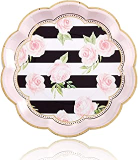 black and white striped floral invitations