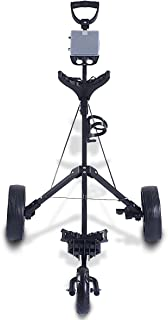 GYMAX Golf Cart, 3 Wheel Trolley Swivel Folding Pull Push Golf Cart with Cup Holder