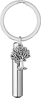 Jovivi Stainless Steel Tree of Life Cylinder Cremation Bottle Urn Keychain Keepsake Ashes Pendant Memorial Jewelry