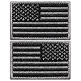 Anley Tactical USA Flag Patches Set - 2 Pack (Forward & Reversed) 2'x 3' Black & Gray American Flag Military Uniform Emblem Patch - Loop & Hook Fasteners Attach to Tactical Hats and Gears