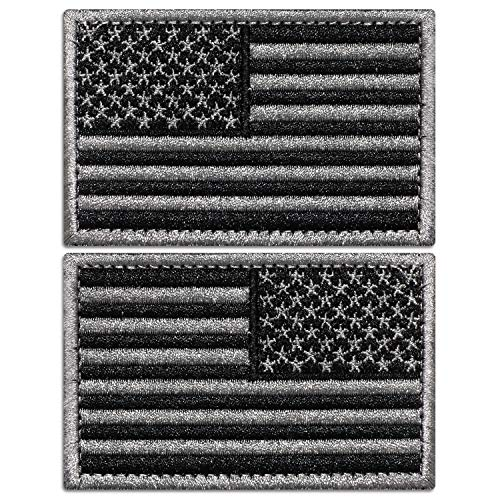 Anley Tactical USA Flag Patches Set - 2 Pack (Forward & Reversed) 2x 3 Black & Gray American Flag Military Uniform Emblem Patch - Loop & Hook Fasteners Attach to Tactical Hats and Gears