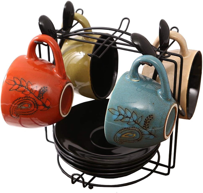 Gxmkf Ensemble de Tasses à café en céramique, 4  Tasse, 4  Plateau, 4  cuillère en céramique, 1  Porte-Tasse (Couleur   B)