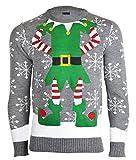 NOROZE Herren Damen Unisex Neuheit Weihnachten Pullover Strickpullover M Mittelgrau