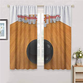 GUUVOR Bowling Party for Bedroom Blackout Curtains Bowling Alley with Skittles and Ball in Position Hobby Print Blackout Curtains for The Living Room W84 x L84 Inch Pale Brown Black White