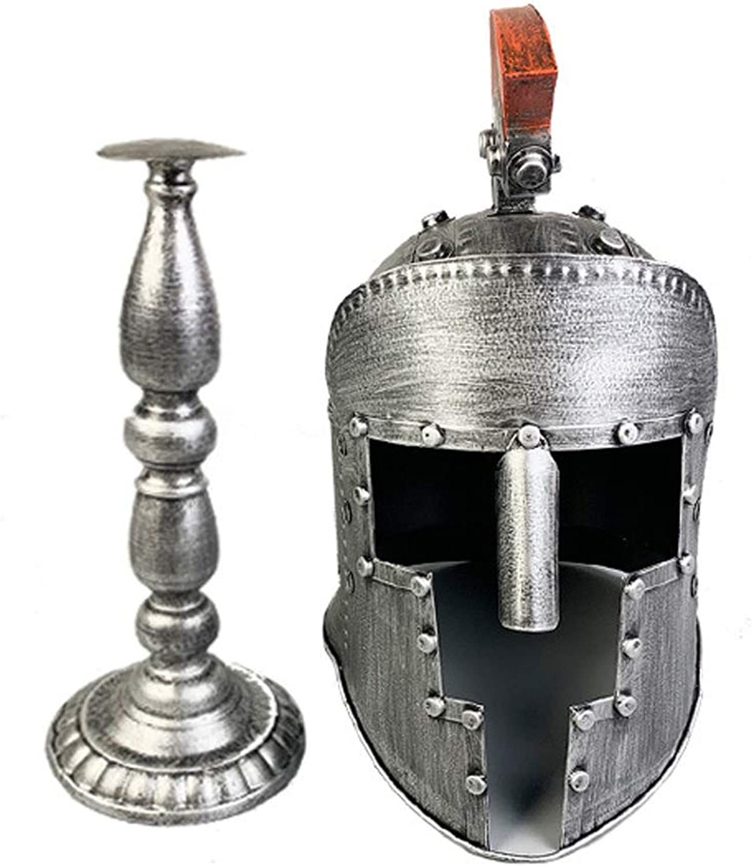 YLee Elmo Medievale Iron Knight Maschera per Gio  di Ruolo Materiale Mettuttiico Elmo Samurai Perfetto Arrossoamento Vintage,argentoo