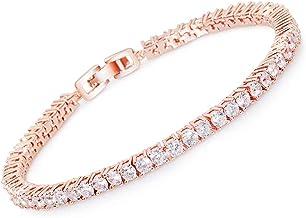 MEETYOO Tennis Bracelet Crystal Jewelry Lady Valentines Gift Zirconia Platinum Plated Bangle