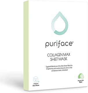 Puriface Collagen Max Korean Sheet Mask - 5 Pack, Clean and Natural Ingredients Noni, Jojoba and Morinda Citrifolia, Brightening and Nourishing, Firming and Revitalizing