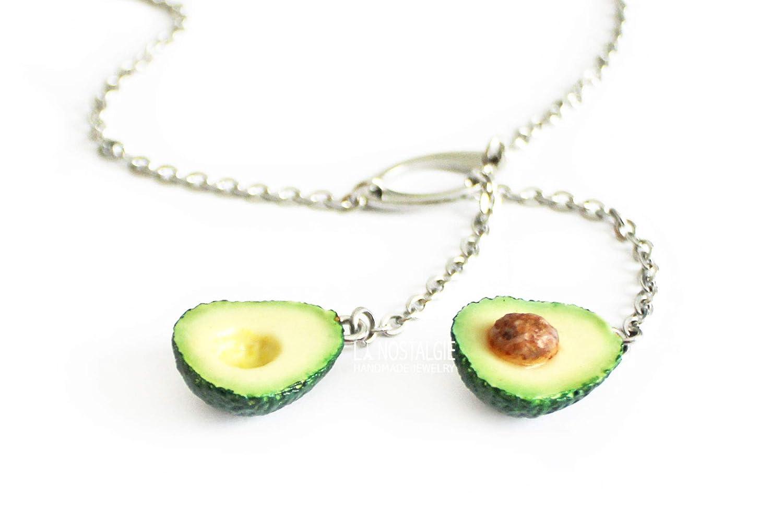 Philadelphia Mall Green Avocado Tropical Fruit Silver Lariat J Max 90% OFF Y Necklace Handmade