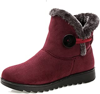 Gracosy Suede Snow Boots, Women's Winter Warm Buckle Fur Lining Soft Comfortable Ankle Non-Slip Snow Boots