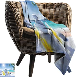 Mannwarehouse Spa Decor Reversible Blanket Spa Treatment on Tropical Beach Sunshines Palm Trees Bungalows Wooden Deck Ultra Soft and Warm Hypoallergenic