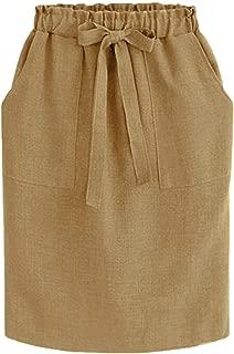 Womens Elegant Office Pencil Midi Skirts Cotton Elastic Waist Package Hip Bow Skirt