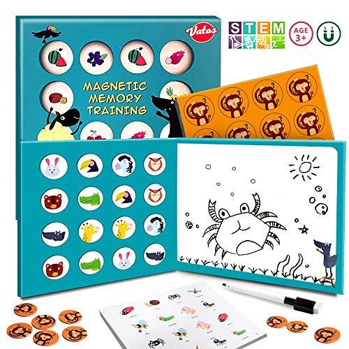 VATOS Brettspiel 3 in 1 Magnetic Memory Spiele ab 3 4 5 6 7 Jahren Kinder, Matching Spielzeug für Kinder Brettspiel mit Zeichenbrett Lernspiel Geschenk ab 3-9 Jahre alt Kleinkinder Jungen & Mädchen