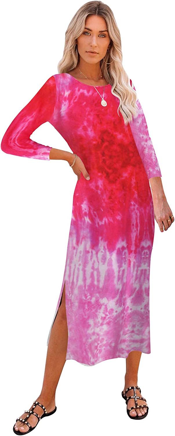 Beach Cover up Dresses for Women - Casual Loose Side Split Tie Dye Midi Dress with Pockets Multicolor Rose Large