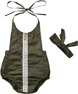 Newborn Infant Baby Girls Clothes Summer One Piece Romper Green Lace Jumpsuit Halter Bodysuit