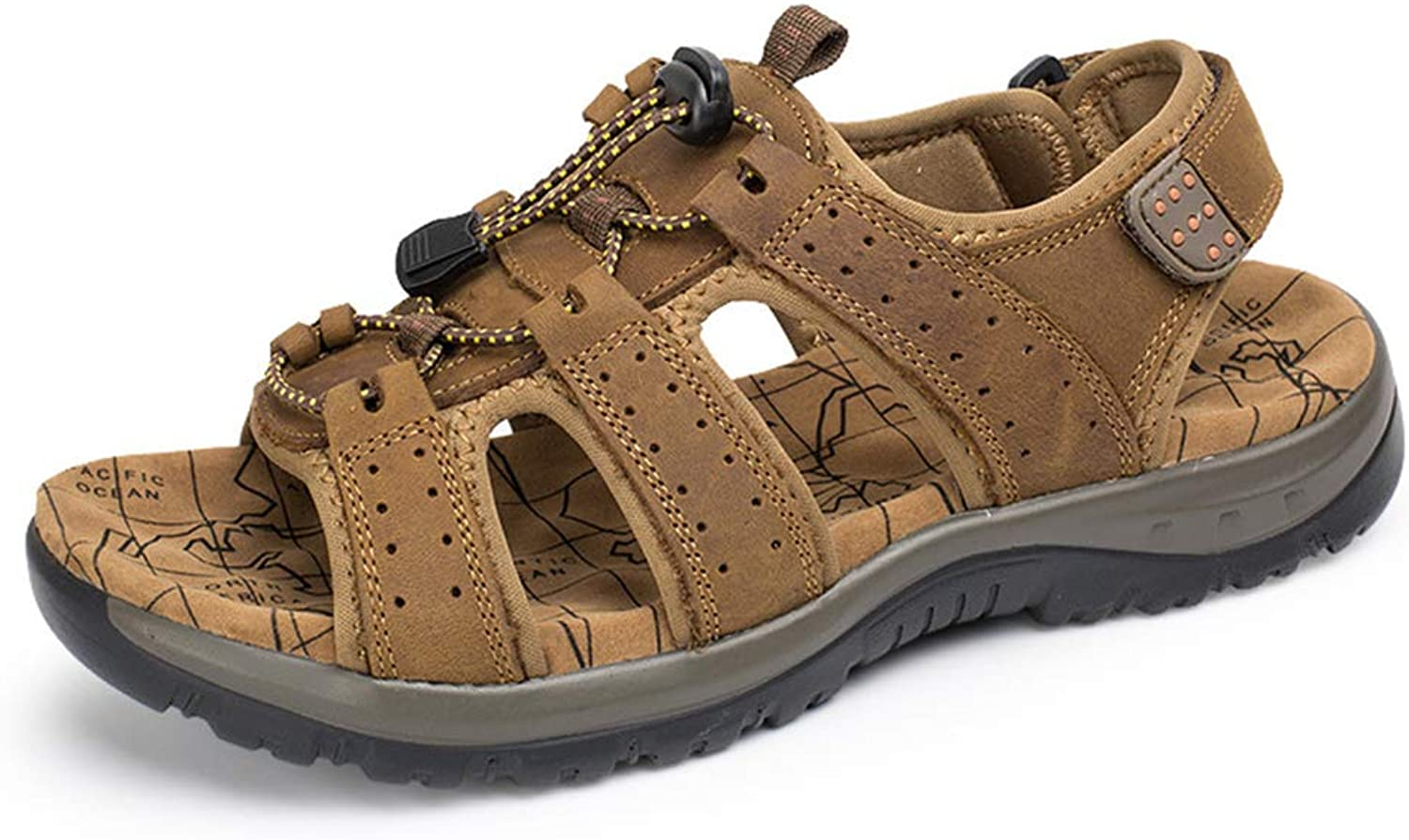 Summer Open Toe Casual Beach Sandals Hiking Non Slip Outdoor Hiking Comfy Lightweight Leather Lace-Up shoes
