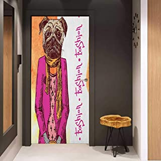Onefzc Soliciting Sticker for Door Pug Fashion Icon Dog with Cool Clothes Scarf Necklace Jacket Handbag Tainted Background Mural Wallpaper W23.6 x H78.7 Hot Pink Amber