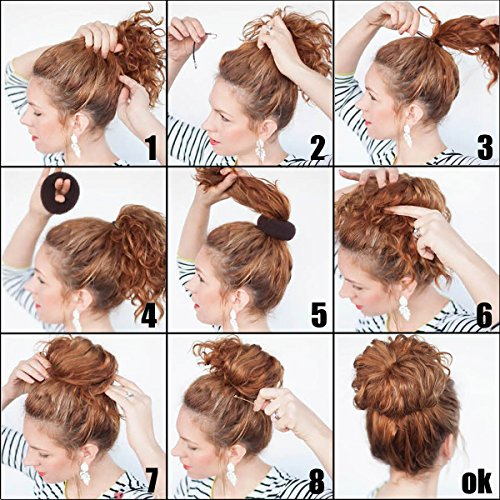 QY 3PCS Hair Mesh Chignon Donut To Make Hair Bun Best Age Reducing Solution, Small Medium And Large Size, Light Beige Color