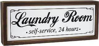 Paris Loft Wood Laundry Room Self-Service Signs,Rustic Laundry Decoratiove Box Sign Freestanding Laundry Room Decor 9.75''x1.5''x4''