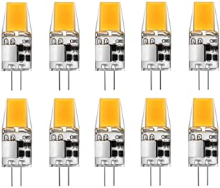 JKLcom G4 LED Light Bulbs G4 Bi-Pin Base 3W (Equivalent to 20W Halogen Bulb) AC/DC 12V Warm White 3000K LED Bulbs for Landscape Ceiling Under Counter Puck Lighting,1 LED 1508 COB Chip,10 Pack