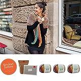 MyOma Tücher selber Stricken - Strickset Lollipop INKL. Nadel - Strick Set mit 3 Knäuel Merinowolle Merino Mix Big Color + Rundstricknadel + Anleitung zum Stricken und GRATIS Label - Strickpackung
