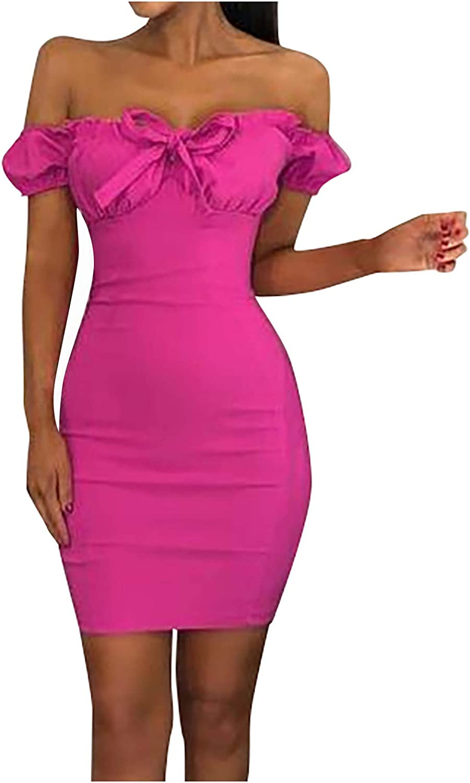 RFNIU Womens Bodycon Tube Top Short Dress Fashion Pink Sexy Short Sleeve Strapless Desses Formal Retro Dance Party Dress