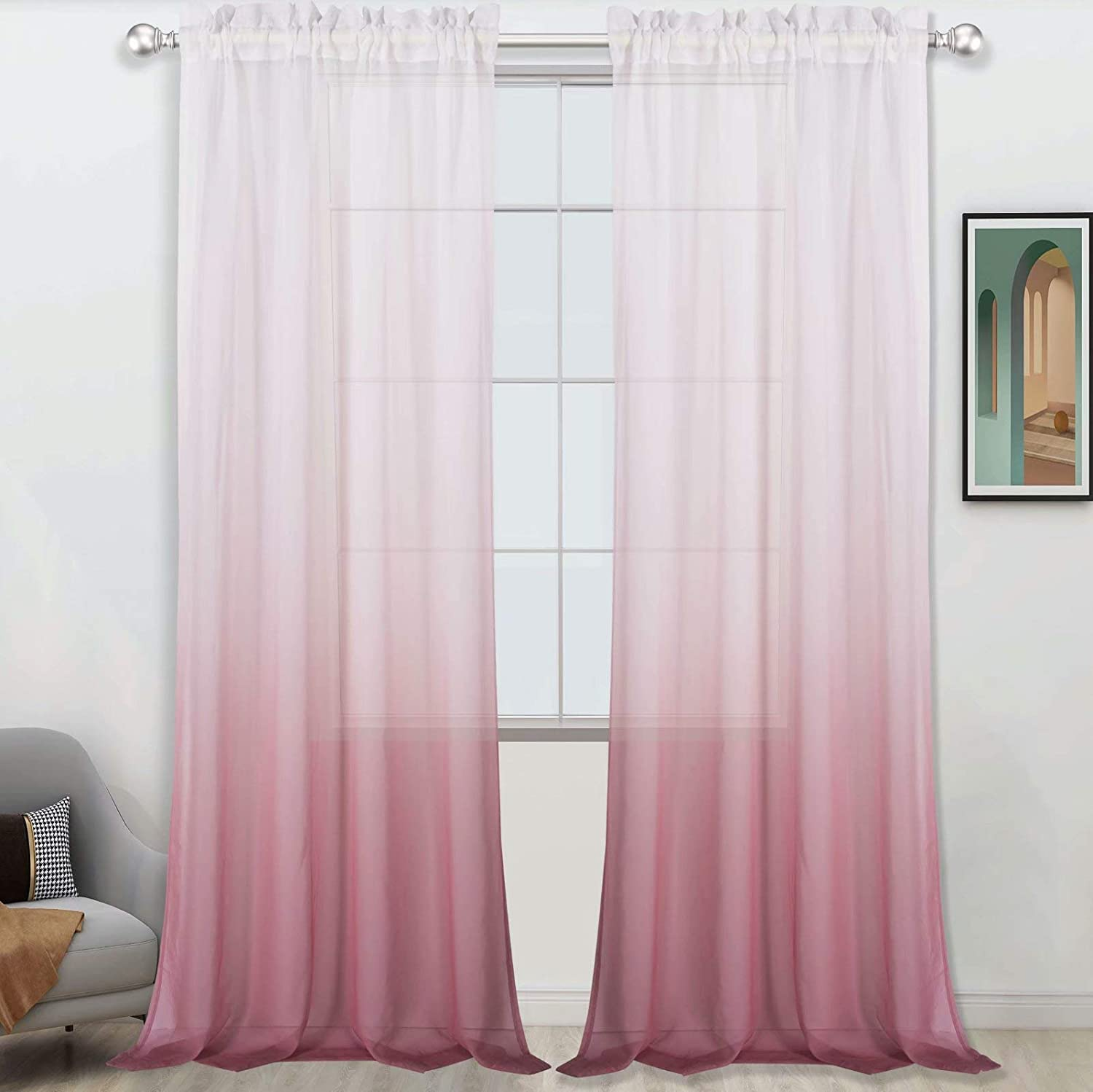 Selectex Faux Linen Ombre Import Sheer Curtains S Pocket Product Voile Rod Semi
