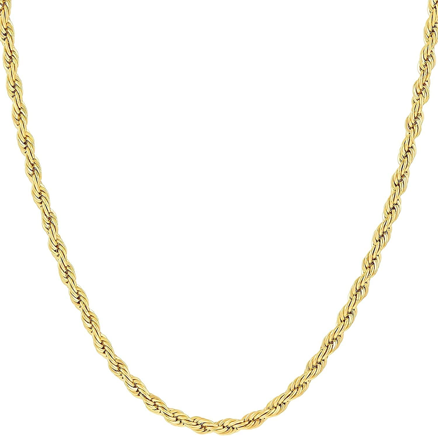 VESA JEWELS 10k Dainty Thin Yellow Gold Diamond Cut Rope Twisted Braided Chain Necklace 1.8MM Pure 10 Karat Gold Necklace, 16''-30'' Men Women Unisex Teens 10k Rope Chain Necklace