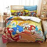 Yumhi Sonic Mania Bedding Set 2 Pieces Kids Duvet Cover Set Girls Boys Bedspread 3D Cartoon Bed Sets Twin Size