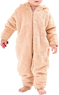 (赤ちゃんまーけっと) クマ 着ぐるみ 赤ちゃん ベビー カバーオール ロンパース 防寒着 ボア モコモコ ギフト