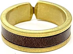 belllabell(ベルラベル) リング イタリアン レザー ゴールド 本革 アンティーク [日本製] メンズ レディース 指輪 牛革 真鍮 ブッテーロ カラー (6mmダークブラウン)