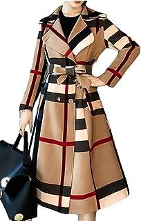 maweisong 女性のエレガントなダブルブレスト長い格子縞コートアウターウェア