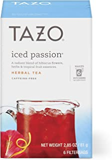 Tazo Herbal Tea Iced Tea Bags For a Refreshing Cold Beverage Iced Passion Caffeine-Free, 6 count, Pack of 4, Packaging may...