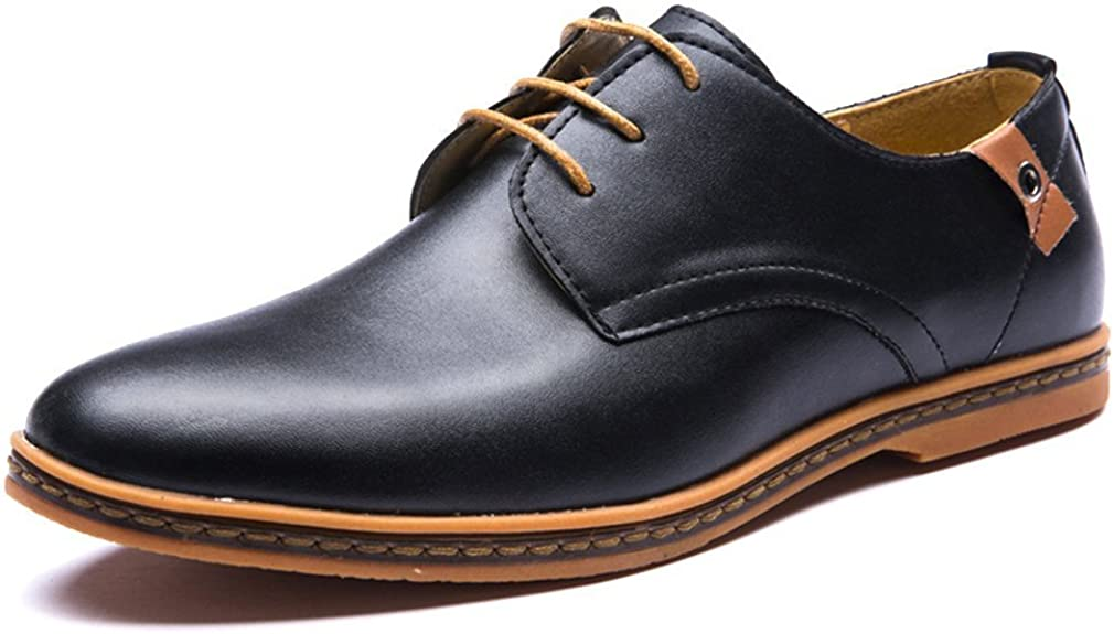 MayBest Mens Business Casual Lace Up Oxford Derby Smooth Leather Height Increasing Pointed Toe Shoes