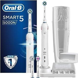 Oral-B Smart 5 5000N CrossAction Spazzolino Elettrico Ricaricabile, Bianco, 5 Modalità tra cui Sbiancante, Denti Sensibili...
