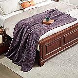 "hahawooi Merino Wool Throw Wool Blanket 55""x 80' Diamond Print Pattern Camping Blanket, Warm Cozy Bed Blanket and Throw for Camping, Indoor, Outdoor, Fuchsia & Cyan Grey"