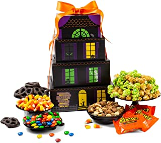 Haunted House Halloween Gift Tower - Halloween Gifts of Halloween Candy, Candy Corn, Halloween Chocolate, Cookies, Popcorn