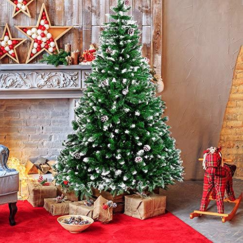 amzdeal Künstlicher Weihnachtsbaum - 180cm Tannenbaum mit Schnee 800 Spitzen und Tannenzapfen, Schnelle Montage Klappbarer Christbaum mit Metallständer für die Weihnachtsdekoration Innen & Außen