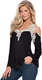 Mikey Store New Summer Women's Casual Cold Shoulder Blouse Long Short Sleeve Tops T-Shirt