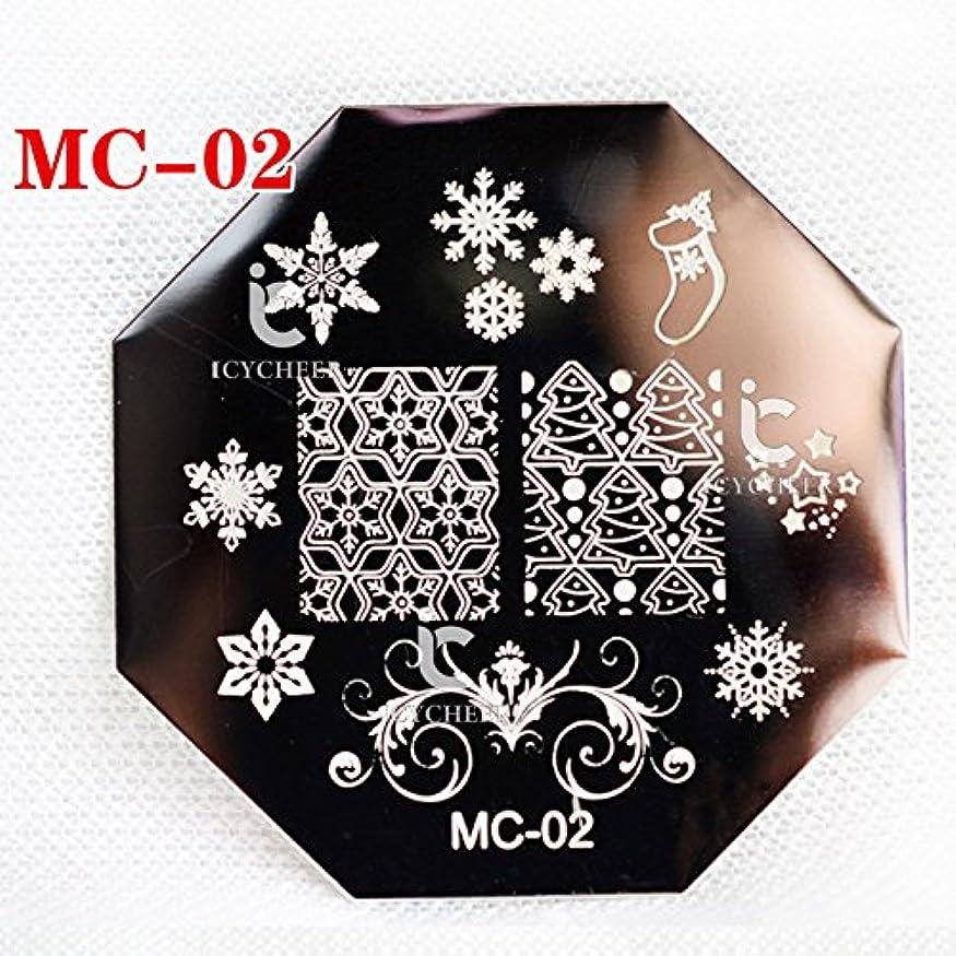 黒同一性疑わしいICYCHEER ChrimasシリーズネイルアートプリントスタンピングPaletesネイルポリッシュテンプレートステンシルDIY (MC02)