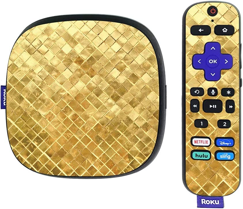 MightySkins Skin Compatible with Roku Ultra HDR 4K Streaming Media Player (2020) - Gold Tiles | Protective, Durable, and Unique Vinyl Decal wrap Cover | Easy to Apply | Made in The USA