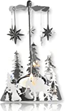 BANBERRY DESIGNS Nativity Candle Spinner - Laser Cut Plated Silver Tea Light Holder with a Nativity Scene and Moravian Stars - Scandinavian Design Candle Holder