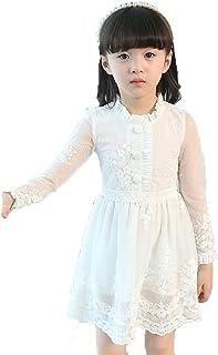 Meng Fan ガールズ 子供服 お姫様 レーススカート 長袖 無地 かわいい丸首 春 綿 レースワンピース プリンセス スカート 演奏会 発表会 チュニック顕やせている