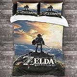 cuicui The Legend of Zelda Juego de ropa de cama, funda nórdica y 2 fundas de almohada, adecuado para adolescentes y niños (A01, 200 x 200 cm + 50 x 75 cm x 2)